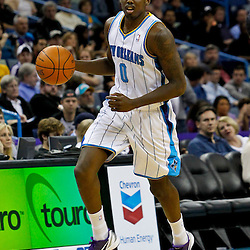 February 2, 2012; New Orleans, LA, USA; New Orleans Hornets small forward Al-Farouq Aminu (0) against the Phoenix Suns during a game at the New Orleans Arena. The Suns defeated the Hornets 120-103.  Mandatory Credit: Derick E. Hingle-US PRESSWIRE