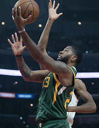 January 16, 2019 - Los Angeles, California, United States of America - Royce O'Neale #23 of the Utah Jazz goes for a layup during their NBA game with the Los Angeles Clippers on Wednesday January 16, 2019 at the Staples Center in Los Angeles, California. Clippers lose to Jazz, 129-109. JAVIER ROJAS/PI (Credit Image: © Prensa Internacional via ZUMA Wire)
