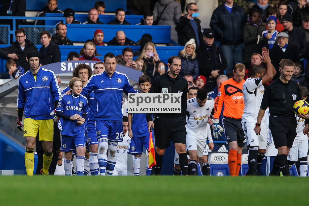 John Terry of Chelsea leads his team out,  Chelsea v Swansea, Barclays Premier League, 26 December 2013