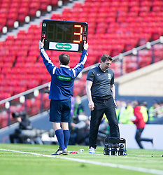 Hibernian's manager Alan Stubbs with 3 mins left.<br /> Hibernian 0 v 1 Falkirk, William Hill Scottish Cup semi-final, played 18/4/2015 at Hamden Park, Glasgow.