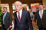 22 FEBRUARY 2012 - MESA, AZ:  Congressman RON PAUL (R-TX) walks into a fundraiser in a hotel in Mesa, AZ, Wednesday. Congressman Paul is participating in the CNN debate in Mesa, AZ, later Wednesday night. He has several fundraisers scheduled in Mesa before the debate.     PHOTO BY JACK KURTZ