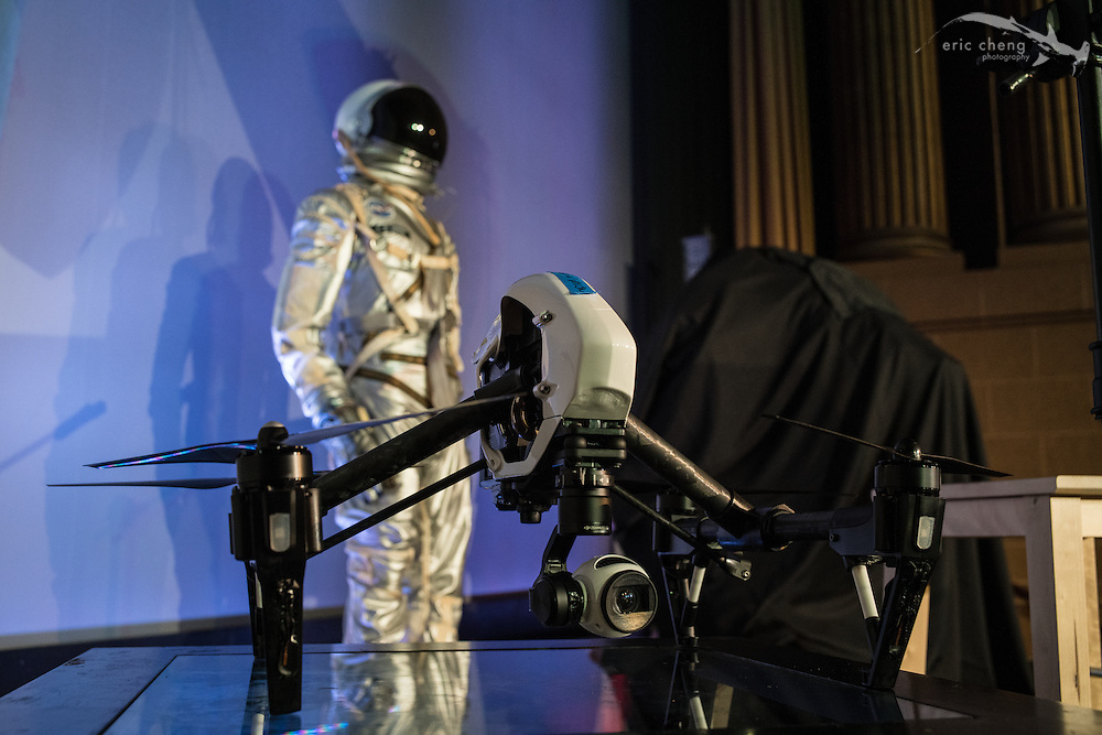 DJI Inspire 1 and Adam Savage's space suit. Tested.com live show, Oct 23, 2015, Castro Theater, San Francisco.