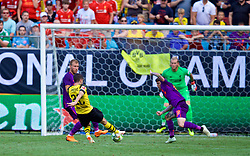 CHARLOTTE, USA - Sunday, July 22, 2018: Borussia Dortmund's Christian Pulisic scores the second goal during a preseason International Champions Cup match between Borussia Dortmund and Liverpool FC at the  Bank of America Stadium. (Pic by David Rawcliffe/Propaganda)
