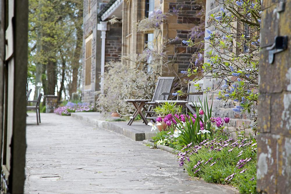The terrace, Pickwell Manor, Georgeham, North Devon, UK.CREDIT: Vanessa Berberian for The Wall Street Journal<br /> HOUSESHARE