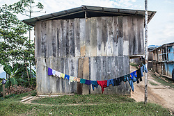 Clothes are hanging out to dry in Santiaro. Margins for Vrae's coca farmers are nonexistent. That is why most farmers rather sell to drug cartels, who pay almost the double to what the state owned Empresa Nacional de la coca, Enaco, pays.