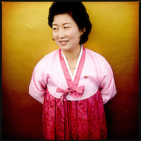 A North Korean woman in traditional dress in Pyongyang, North Korea.