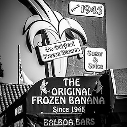 Original Frozen Banana sign black and white picture.  Sugar and Spice dessert shop is on Balboa Island in Newport Beach California and has been in business since 1945.