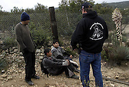Greg Imus a minuteman member stop 3 undocumented immigrants that cross the border in Boulevard about 65 miles (104.6 km) east of downtown San Diego. At 21 April 2006....
