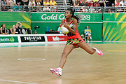 8th April 2018, Gold Coast, Gold Coast Convention and Exhibition Centre, Australia; Commonwealth Games day 4; Netball Malawi versus New Zealand;  Bridget Kumwenda of Malawi takes the pass