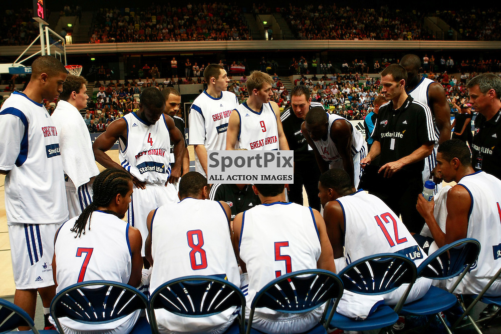 GB men vs Puerto Rico basketball at the Copper Box Arena. Team GB time out. 11/08/2013 (c) MATT BRISTOW
