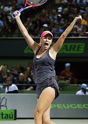 March 28, 2018 - Key Biscayne, Florida, United States - Danielle Collis, from the USA, celabrating the most important victory of her career, defeating Vanus Williams 62, 6-3 for the quarter finals a the Miami Open in Miami, on March 28, 2018. (Credit Image: © Manuel Mazzanti/NurPhoto via ZUMA Press)