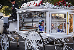 """© Licensed to London News Pictures. 13/02/2020. Sevenoaks, UK. The coffin of Joey Smith makes it's way to St John the Baptist church in Sevenoaks, Kent for he funeral of traveller brothers Billy and Joe Smith. The twin brothers, who were made famous by the television programme """"My Big Fat Gypsy Wedding"""", were found hanged in woodland three days after Christmas. Photo credit: Ben Cawthra/LNP"""