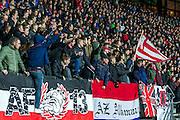 ALKMAAR - 16-02-2017, AZ - Olympique Lyon, AFAS Stadion, 1-4, supporters AZ, sfeer, vlaggen, vlag.