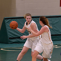 4th year guard Caitlin Zacharias (5) of the Regina Cougars in action during the Women's Basketball Preseason game on October 14 at Centre for Kinesiology, Health and Sport. Credit: Arthur Ward/Arthur Images