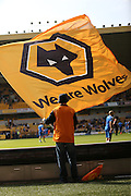 Wolves flag bearer during the Sky Bet Championship match between Wolverhampton Wanderers and Brighton and Hove Albion at Molineux, Wolverhampton, England on 19 September 2015.