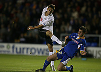 Photo: Rich Eaton.<br /> <br /> Shrewsbury Town v Fulham. Carling Cup. 28/08/2007. Fulham's Clint Dempsey shoots past Darren Moss.
