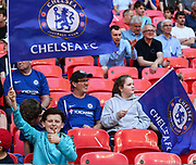 A Chelsea fan during the The FA Cup match between Chelsea and Southampton at Wembley Stadium, London, England on 22 April 2018. Picture by Toyin Oshodi.