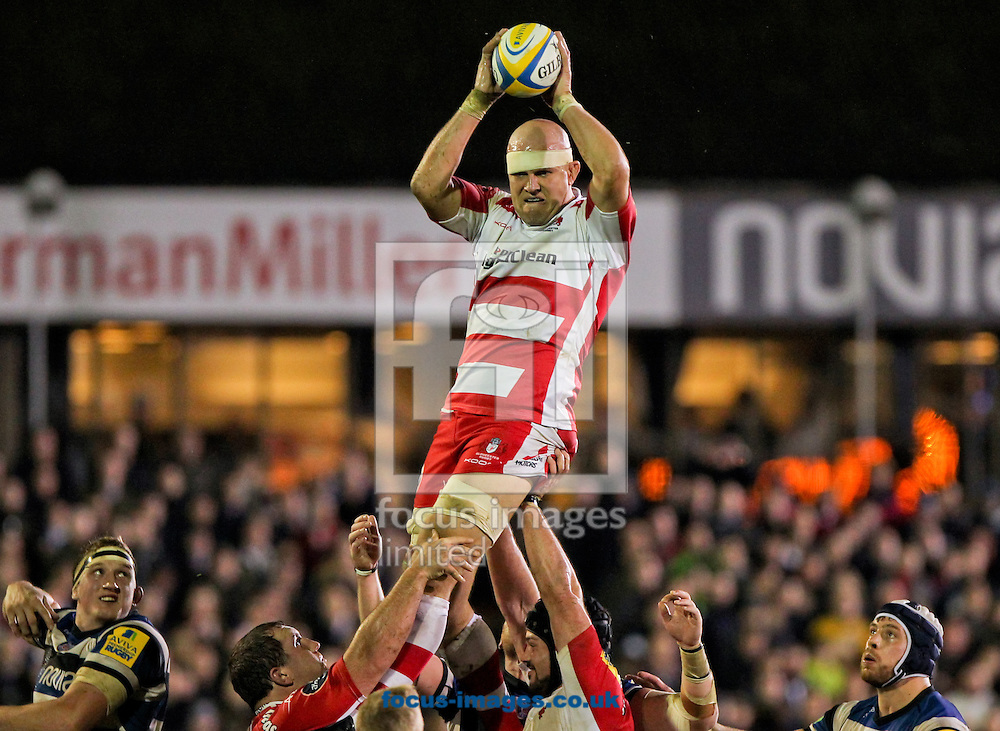 Picture by Tom Smith/Focus Images Ltd 07545141164<br /> 25/10/2013<br /> Will James of Gloucester Rugby catches the ball in the line out during the Aviva Premiership match at the Recreation Ground, Bath.