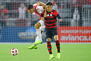 /a16/ and Flamengo midfielder Fernando Uribe (20) go airborne for a ball during a Florida Cup match aat Orlando City Stadium on Jan. 10, 2019 in Orlando, Florida. <br /> <br /> ©2019 Scott A. Miller
