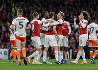 Football - 2018 / 2019 EFL Carabao (League) Cup - Fourth Round: Arsenal vs. Blackpool<br /> <br /> Arsenal players congratulate goalscorer Stephan Lichtsteiner (Arsenal FC) after he scores the opening goal at The Emirates.<br /> <br /> COLORSPORT/DANIEL BEARHAM