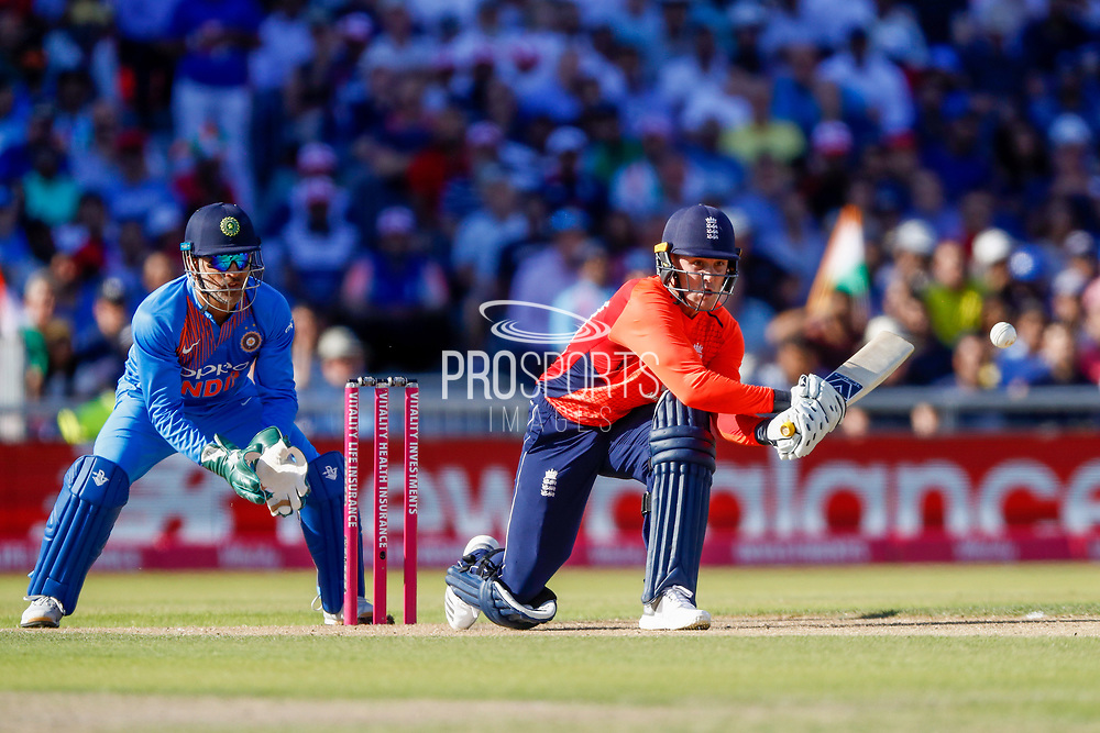 England T20 batsman Jason Roy reverse sweeps for a boundary during the International T20 match between England and India at Old Trafford, Manchester, England on 3 July 2018. Picture by Simon Davies.