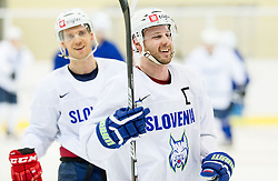 Luka Vidmar and Jan Mursak during practice session of Slovenian Ice Hockey National Team at training camp, on February 8th, 2016 in Ledna dvorana, Bled, Slovenia. Photo by Vid Ponikvar / Sportida