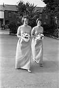 """05/09/1962<br /> 09/05/1962<br /> 05 September 1962<br /> Wedding of Fergus Keogh of """"Eagleville"""", Strandville Avenue, Clontarf, Dublin to Miss Miriam Caffrey, Church Avenue, Drumcondra Dublin at the Church of the Visitation of the BVM, Fairview with reception at St. Lawrence Hotel, Howth. Mr. keogh was full-back for Bective Rangers at the time. the bridesmaids."""
