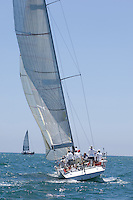 Crew on board yacht in competitive team sailing event California