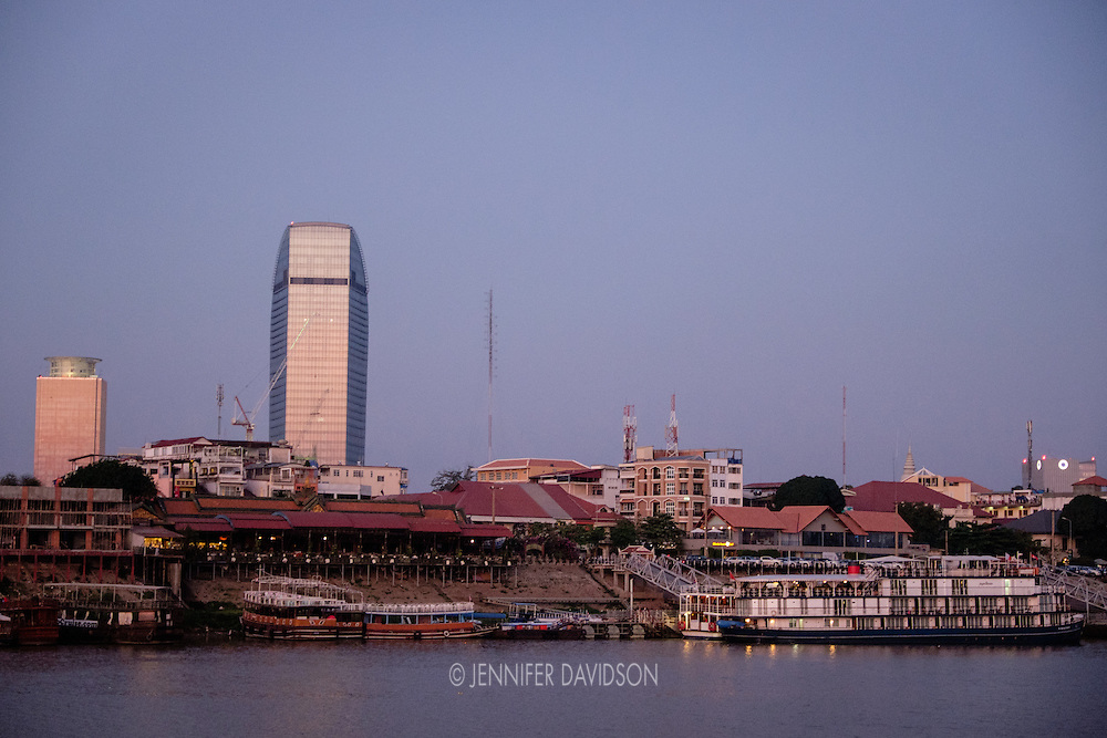The Phnom Penh skyline at dawn.