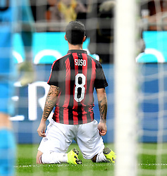 MILAN, May 7, 2019  AC Milan's Suso celebrates his goal during a Serie A soccer match between AC Milan and Bologna in Milan, Italy, May 6, 2019. AC Milan won 2-1. (Credit Image: © Daniele Mascolo/Xinhua via ZUMA Wire)