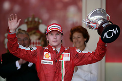 MONTE-CARLO, MONACO - Sunday, May 24, 2009: Kimi Raikkonen (FIN Ferrari) celebrates his third place finish during the Monaco Formula One Grand Prix at the Monte-Carlo Circuit. (Pic by Juergen Tap/Hoch Zwei/Propaganda)