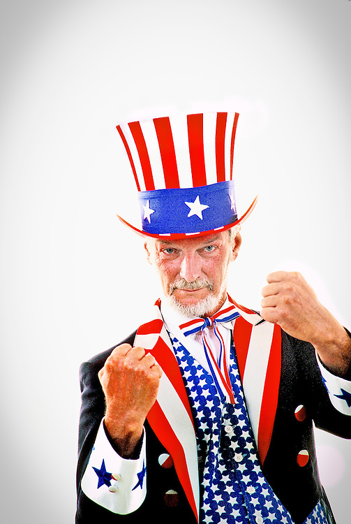 Uncle Sam puts up his fists.