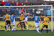 Eastleigh goalkeeper Ross Flitney punches over the bar during the The FA Cup match at Haig Avenue, Southport<br /> Picture by Ian Wadkins/Focus Images Ltd +44 7877 568959<br /> 07/12/2014