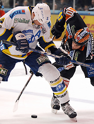 25.02.2010, Eisstadion Liebenau, Graz, AUT, EBEL, Graz 99ers vs KHL Zagreb, im Bild Warren Norris (10, 99ers), Joel Prpic (29, KHL Zagreb), EXPA Pictures © 2010, PhotoCredit: EXPA/ J. Hinterleitner / SPORTIDA PHOTO AGENCY.