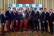 (L-R) Radoslaw Szymanik - captain national team &amp; Piotr Gadomski &amp; Mariusz Fyrstenberg &amp; Marcin Matkowski &amp; Michal Przysiezny &amp; Jerzy Janowicz &amp;Marin Cilic &amp; Mate Pavic &amp; Marin Draganja &amp; Borna Coric &amp; Zeljko Krajan - captain national team while official dinner at Regent Hotel two days before the BNP Paribas Davis Cup 2014 between Poland and Croatia at Torwar Hall in Warsaw on April 2, 2014.<br /> <br /> Poland, Warsaw, April 2, 2014<br /> <br /> Picture also available in RAW (NEF) or TIFF format on special request.<br /> <br /> For editorial use only. Any commercial or promotional use requires permission.<br /> <br /> Mandatory credit:<br /> Photo by &copy; Adam Nurkiewicz / Mediasport