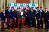 (L-R) Radoslaw Szymanik - captain national team & Piotr Gadomski & Mariusz Fyrstenberg & Marcin Matkowski & Michal Przysiezny & Jerzy Janowicz &Marin Cilic & Mate Pavic & Marin Draganja & Borna Coric & Zeljko Krajan - captain national team while official dinner at Regent Hotel two days before the BNP Paribas Davis Cup 2014 between Poland and Croatia at Torwar Hall in Warsaw on April 2, 2014.<br /> <br /> Poland, Warsaw, April 2, 2014<br /> <br /> Picture also available in RAW (NEF) or TIFF format on special request.<br /> <br /> For editorial use only. Any commercial or promotional use requires permission.<br /> <br /> Mandatory credit:<br /> Photo by © Adam Nurkiewicz / Mediasport