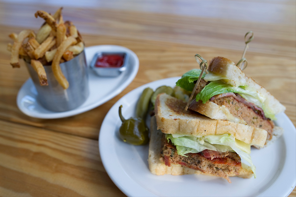 The turkey meatloaf sandwich and fries at the Lot in east Dallas on Thursday, April 18, 2013. (Cooper Neill/The Dallas Morning News)
