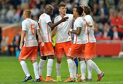 05-06-2015 NED: Oefeninterland Nederland - USA, Amsterdam<br /> Oranje verliest oefeninterland tegen Verenigde Staten met 4-3 / Memphis Depay #11 scoort de 3-1 met ned6/, Daley Blind #5, Klaas-Jan Huntelaar #9, Bruno Martins Indi #6