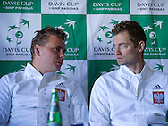 (L) Marcin Matkowski & (R) Mariusz Fyrstenberg both from Poland while press conference three days before the BNP Paribas Davis Cup 2014 between Poland and Croatia at Torwar Hall in Warsaw on April 1, 2014.<br /> <br /> Poland, Warsaw, April 1, 2014<br /> <br /> Picture also available in RAW (NEF) or TIFF format on special request.<br /> <br /> For editorial use only. Any commercial or promotional use requires permission.<br /> <br /> Mandatory credit:<br /> Photo by © Adam Nurkiewicz / Mediasport