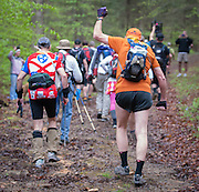 Stu Gleman fist pumps at the start of the Barkley Marathons