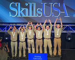 The 2017 SkillsUSA National Leadership and Skills Conference Competition Medalists were announced Friday, June 23, 2017 at Freedom Hall in Louisville. <br /> <br /> Welding Fabrication<br /> <br /> Team F (consisting of Tyler Christmas, Toshihiro Davis, Ben Warnick)<br />   High School Maple Mountain High School<br />   Gold Spanish Fork, UT<br /> Welding FabricationTeam W (consisting of SPENCER COOK, ARMANDO MONTOR, Brandon Mitchell)<br />   High School Northeast Technology Center-Afton<br />   Silver Afton, OK<br /> Welding FabricationTeam O (consisting of Wyatt Judge, Thomas Phelan, Jacob Grant)<br />   High School San Luis Obispo High School<br />   Bronze San Luis Obispo, Ca<br /> Welding FabricationTeam M (consisting of A Vandegrift, Brent Justensen, Preston Justensen)<br />   College Davis Applied Tech Center<br />   Gold Kaysville, UT<br /> Welding FabricationTeam K (consisting of Patrick Benavidez, Greyson Tagg, Joseph Rivera)<br />   College Central New Mexico Community College<br />   Silver Albuquerque, NM<br /> Welding FabricationTeam W (consisting of Tyler Forbes, Robert Kohlbush, Michael Dye)<br />   College Cuesta Community College<br />   Bronze San Luis Obispo, CA