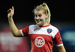 Bristol Academy Womens' Nikki Watts  celebrates on the final whistle  - Photo mandatory by-line: Joe Meredith/JMP - Mobile: 07966 386802 - 13/11/2014 - SPORT - Football - Bristol - Ashton Gate - Bristol Academy Womens FC v FC Barcelona - Women's Champions League