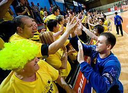 Ivan Gajic celebrates with fans at handball match of MIK 1st Men league between RD Slovan and RK Gorenje Velenje, on May 16, 2009, in Arena Kodeljevo, Ljubljana, Slovenia. Gorenje won 27:26. (Photo by Vid Ponikvar / Sportida)