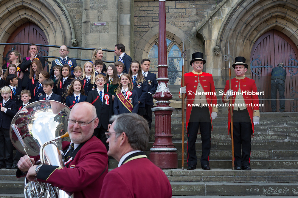 The installation of the Cornet at the Old Parish Church steps, at The Peebles Beltane Festival, including their Common Riding of the Marches, with Cornet Daniel Williamson, and Cornets Elect Lass Susan Thomson, in Peebles, Scotland, Wednesday 19th June 2013. <br /> N55&deg;39.072'<br /> W3&deg;11.545'