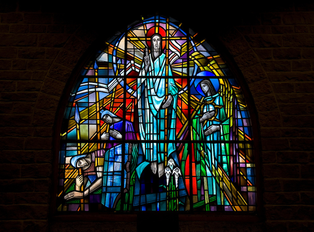 Stained glass image of the risen Christ from a window at St. John Nepomucene Church in Little Chute, Wis. (Sam Lucero photo)