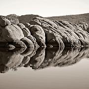 Rocks reflecting in Lake, Watson Lake, Prescott, AZ