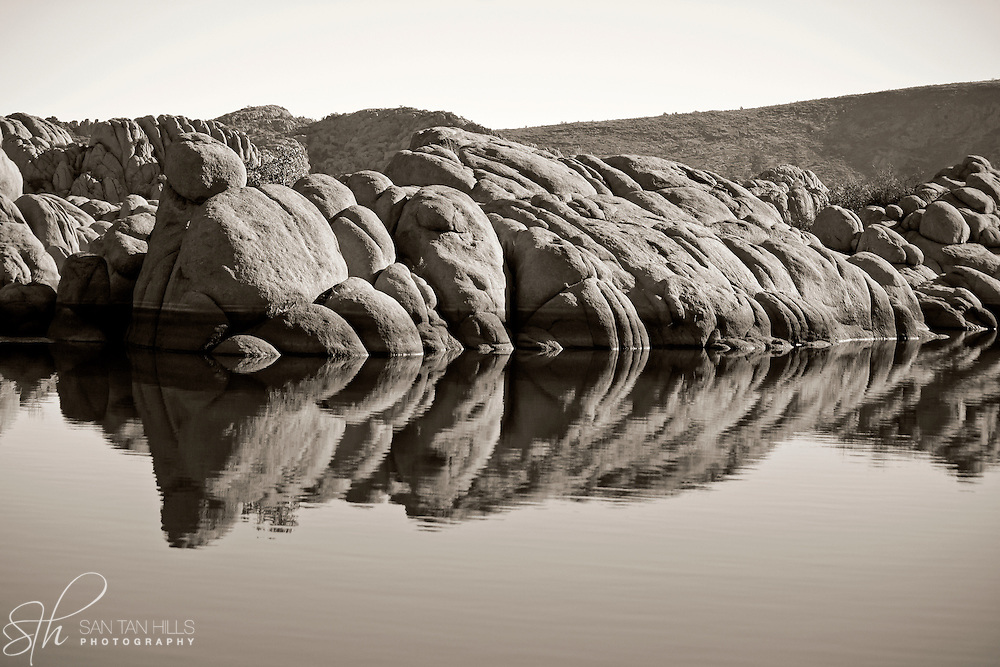 Rocks reflecting in Lake, Watson Lake, Prescott, AZ