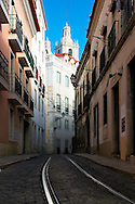 Tramline of narrow street at Alfama