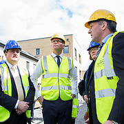 24.04.2017.       <br /> Minister for Housing Simon Coveney visiting the Lord Edward Street site in Limerick, where 81 units for social housing are nearing completion as part of the Limerick Regeneration programme.  57 of which are elderly units (1 and 2 bed apts and 2 bed houses) with the remainder (24) being family homes (3 bed). Picture: Alan Place.<br /> <br /> Pictured on site were, Senator Kieran O'Donnell, Minister for Housing Simon Coveney, Senator Maria Byrne and Senior Executive Architect at Limerick City Council, Seamus Hanrahan. Picture: Alan Place.