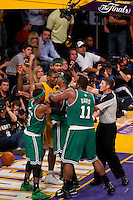 17 June 2010: Forward Ron Artest of the Los Angeles Lakers and Paul Pierce of the Boston Celtics push eachother during the first half of the Lakers 83-79 championship victory over the Celtics in Game 7 of the NBA Finals at the STAPLES Center in Los Angeles, CA.